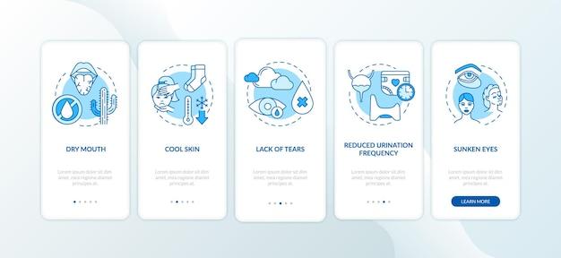 Objawy rotawirusa na ekranie strony aplikacji mobilnej z koncepcjami. suchość w ustach, chłodna infekcja skóry, opis 5 kroków instrukcji graficznych. szablon wektorowy interfejsu użytkownika z kolorowymi ilustracjami rgb