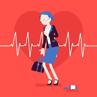 Objawy zawału serca u kobiet. starsza kobieta ma nagły silny ból, ból w klatce piersiowej, nagły przypadek medyczny, puls w kardiogramie. medycyna, opieka zdrowotna. ilustracja wektorowa, postacie bez twarzy