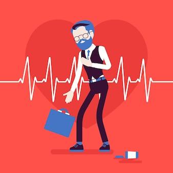 Objawy zawału serca u mężczyzn. starszy mężczyzna ma nagły silny ból, ból w klatce piersiowej, nagły przypadek medyczny, puls w kardiogramie. medycyna i opieka zdrowotna. ilustracja wektorowa, postacie bez twarzy