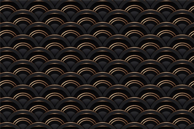 Objętość 3d złoty abstrakcyjny geometryczny bezszwowy wzór płytki tło z złocistą siatki teksturą. wektorowy minimalny czerń wzór metal linia, luksusowy złoty geometrii tła czerni projekta szablon
