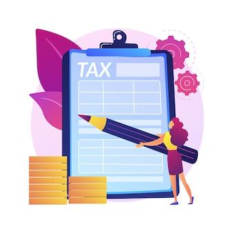 Obliczanie podatków. zarządzanie finansami. osiągnięcie sukcesu. wykonana praca, odnotowane zobowiązanie, wykonane zadanie. odpowiedzialny człowiek zaznacza listę ołówkiem. ilustracja koncepcja na białym tle.