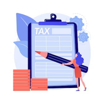 Obliczanie podatków. zarządzanie finansami. osiągnięcie sukcesu. wykonana praca, odnotowane zobowiązanie, wykonane zadanie. odpowiedzialny człowiek zaznacza listę ołówkiem. ilustracja wektorowa na białym tle koncepcja metafora.