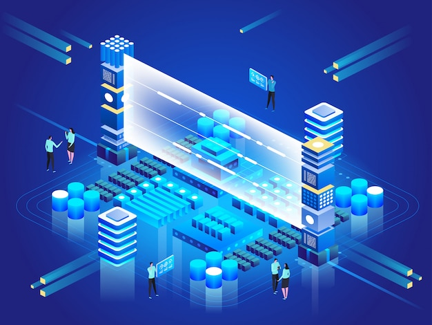 Obliczenia dużego centrum danych, przetwarzanie informacji, baza danych. routing ruchu internetowego