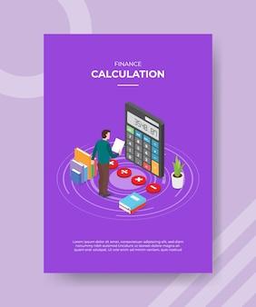 Obliczenia finansowe mężczyzn stojących trzymać przód papieru duży kalkulator stos książki roślin