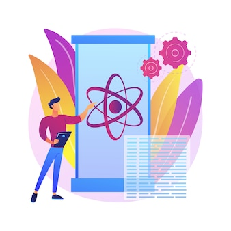 Obliczenia kwantowe ilustracja koncepcja abstrakcyjna. technologia kwantowa, obliczenia przyszłości, innowacyjna technologia informacyjna, przełom informatyczny, superkomputer.