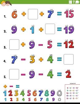 Obliczenia matematyczne strona arkusza edukacyjnego dla dzieci