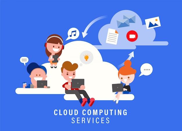 Obłoczna oblicza usługa pojęcia ilustracja. grupa ludzi siedzi na chmurze za pomocą laptopa i inteligentnych urządzeń. postać z kreskówki stylu płaska konstrukcja.