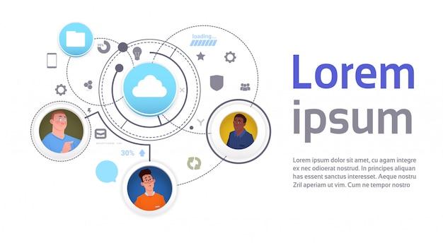 Obłoczny dane technologii dostępu szablonu infographic sztandar
