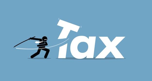 Obniżka podatku przez biznesmena. grafika przedstawia obniżanie i obniżanie podatków.