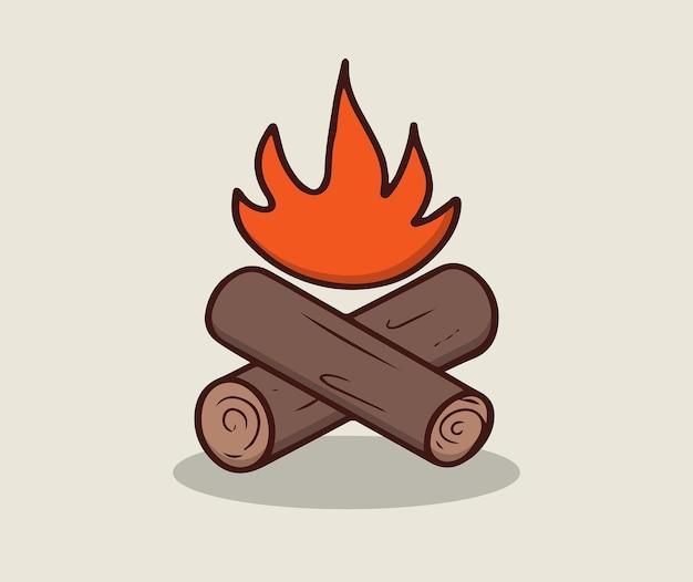 Obóz drewno opałowe i ilustracja ognia fire