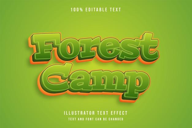 Obóz leśny, efekt edytowalnego tekstu 3d zielony gradacja żółty styl komiksowy efekt