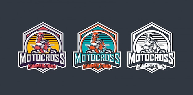 Obóz letni motocross dla dzieci pakiet premium vintage odznaka logo szablon projektu pakietu