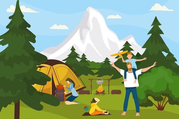Obóz letni na ilustracji przyrody