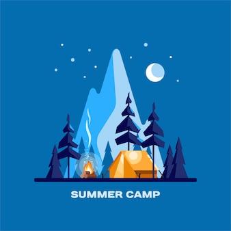 Obóz letni. nocny krajobraz z oświetlonym namiotem, lasem i górami w tle. ilustracja rekreacji i turystyki.
