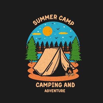 Obóz letni przygody ilustracyjny projekt