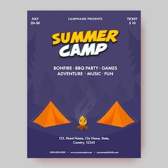 Obóz letni szablon lub projekt ulotki ze szczegółami wydarzenia dla reklamy.