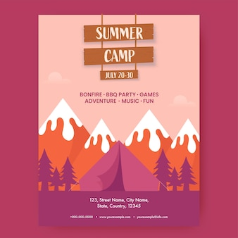 Obóz letni szablon projektu ze szczegółami zdarzenia i ilustracja namiotu na tle krajobrazu przyrody.