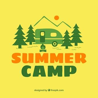 Obóz letni żółty tło