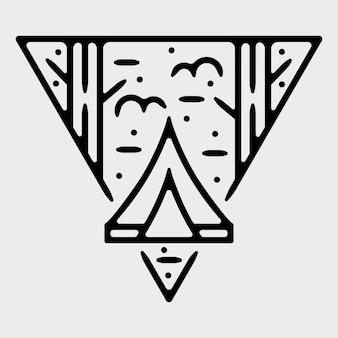 Obóz monoline vintage zewnętrzna odznaka projekt