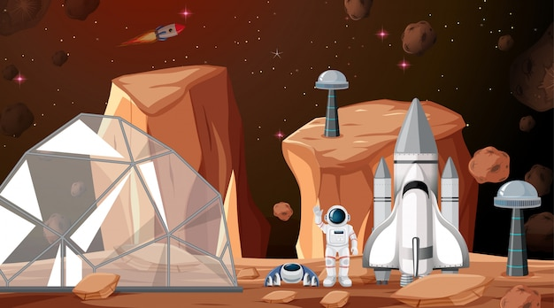 Obóz na scenie kosmicznej lub w tle