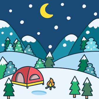 Obóz na zewnątrz w zimową noc doodle ilustracja