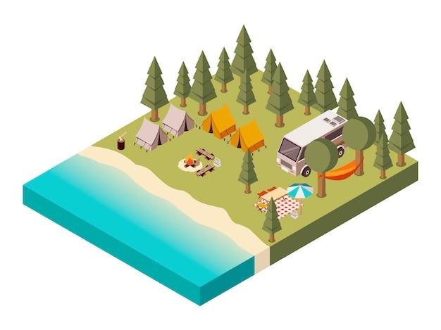 Obóz w pobliżu jeziora izometryczny ilustracja