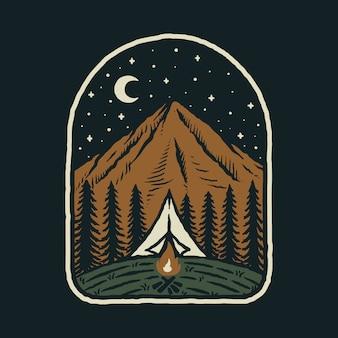 Obóz wędrówki wspinaczka po górach natura dzika ilustracja graficzna sztuka projekt koszulki