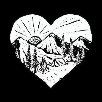 Obóz wycieczka natura dzika linia graficzny ilustracja sztuka projekt koszulki