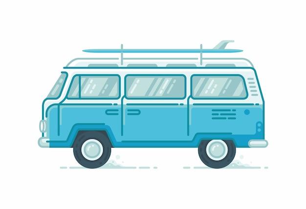 Obozowe minibusy z deskami surfingowymi