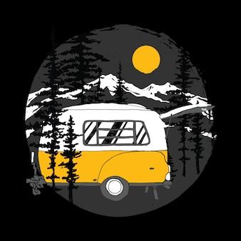 Obozowego samochodu dzika plenerowa halna ilustracja