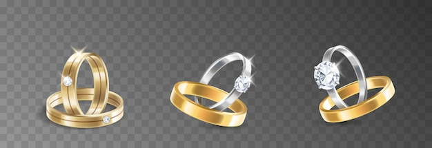 Obrączki ślubne i zaręczynowe zestaw srebra, palladu metalu z diamentami, cyrkoniami i klejnotami na przezroczystym tle na białym tle. realistyczna ilustracja wektorowa 3d