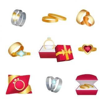 Obrączki ślubne. symbole małżeństwa złota biżuteria w pudełku ze wstążkami kreskówka miłość ślub ikona kreskówka