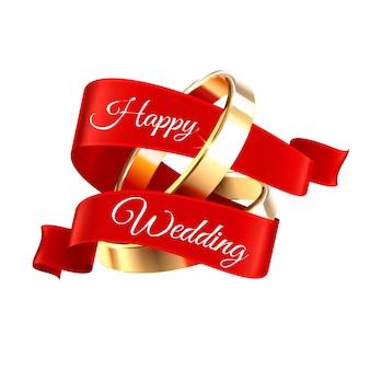 Obrączki ślubne z czerwoną wstążką z wydzielonym tekstem do edycji