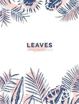Obramowania z gałęzi i liści palmowych w dżungli narysowanych liniami konturowymi i plamami farby.