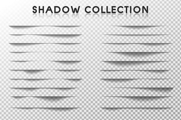 Obramowanie cienia. realistyczne zestawy cieni, które występują na krawędzi papieru.