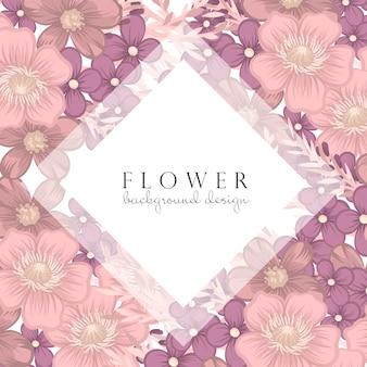 Obramowanie różowy i fioletowy kwiat