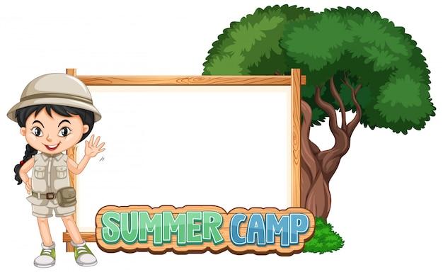 Obramowanie szablonu projektu z dziewczyną na obóz letni