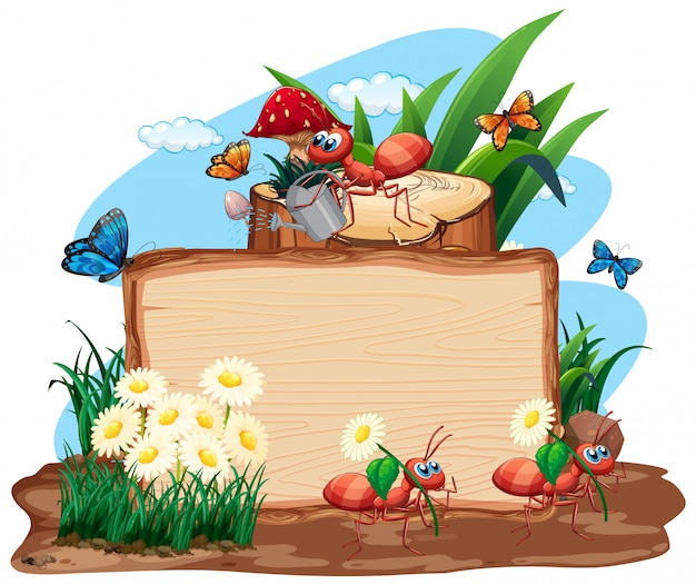 Obramowanie szablonu projektu z owadami w tle ogrodu