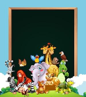 Obramowanie szablonu projektu z uroczych zwierzątek