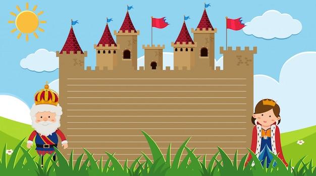 Obramowanie szablonu z królem i królową na zamku
