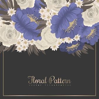 Obramowanie wzorów kwiatowych - niebieskie kwiaty