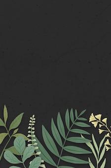 Obramowanie zielonych liści na czarno