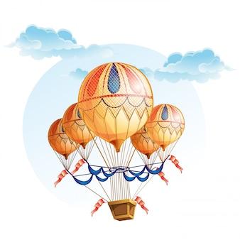 Obraz balonu na ogrzane powietrze na niebie