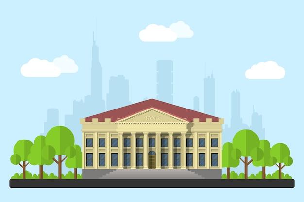 Obraz budynku banku, chmury i drzewa, z sylwetką wielkiego miasta na tle, ilustracja styl