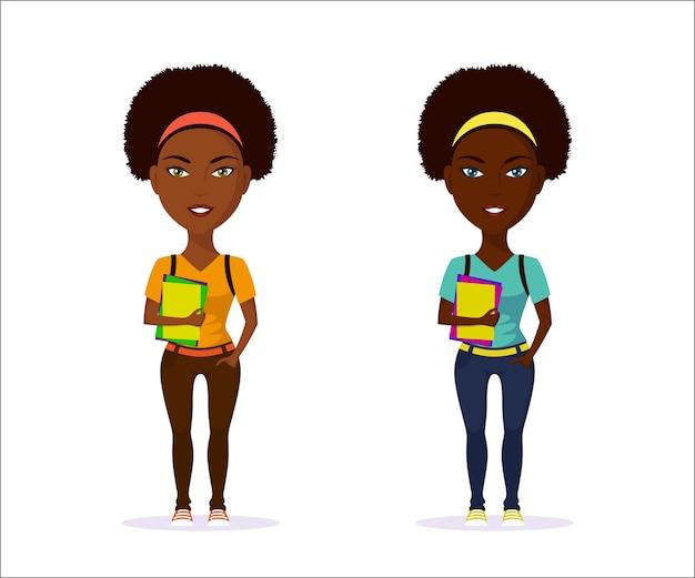 Obraz cute girl student w ubranie z zeszytów na białym tle