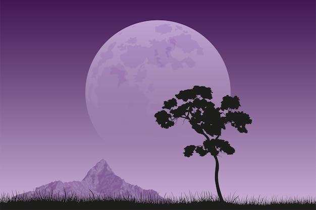Obraz drzewa czarna sylwetka ze szczytem górskim i pełni księżyca na tle, krajobraz spokojny i cichy, piękno przyrody