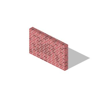 Obraz izometryczny. rysowany jest obszerny mur. cegła, ściana z cegieł, różowy cet. wszystkie elementy są wykonane w izometrii.