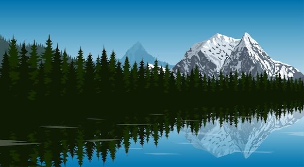 Obraz jeziora w lesie ze szczytem górskim na tle i odbiciem w koncepcji wody, podróży, turystyki, turystyki pieszej i trekkingu, ilustracja styl