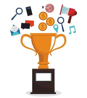 Obraz kampanii marketingowej trofeum cyfrowego