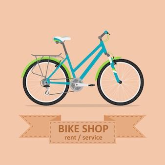 Obraz komfortowego roweru, styl ilustracji